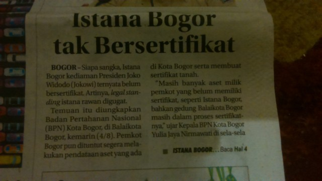 Istana Bogor belum bersertifikat