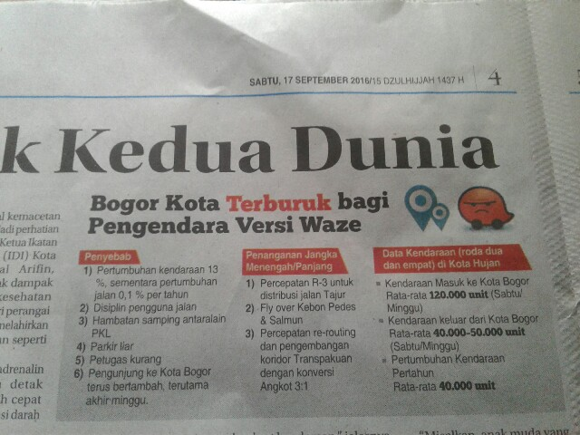 Langkah Mengatasi Kemacetan Kota Bogor : Akankah Terealisasi? Tidak Ada Terobosan!