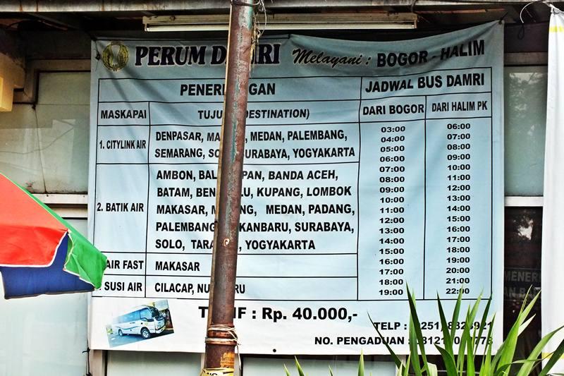 Jadwal Bus Damri Bogor Halim PErdanakusuma