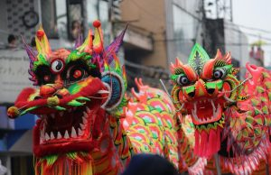 head of dragon in Bogor Lantern Festival or Cap Go Meh 2017