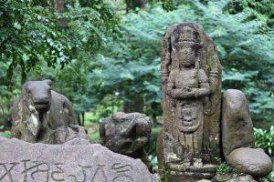 Shiva God and Nandi Bull Statue in Bogor Botanical Garden