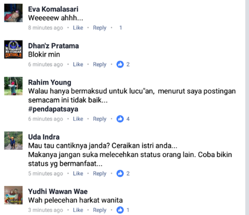 Postingan Melecehkan Wanita ini Mendapat Kecaman dan Doa 2