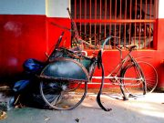 The wreckage of the three wheeler becak 2