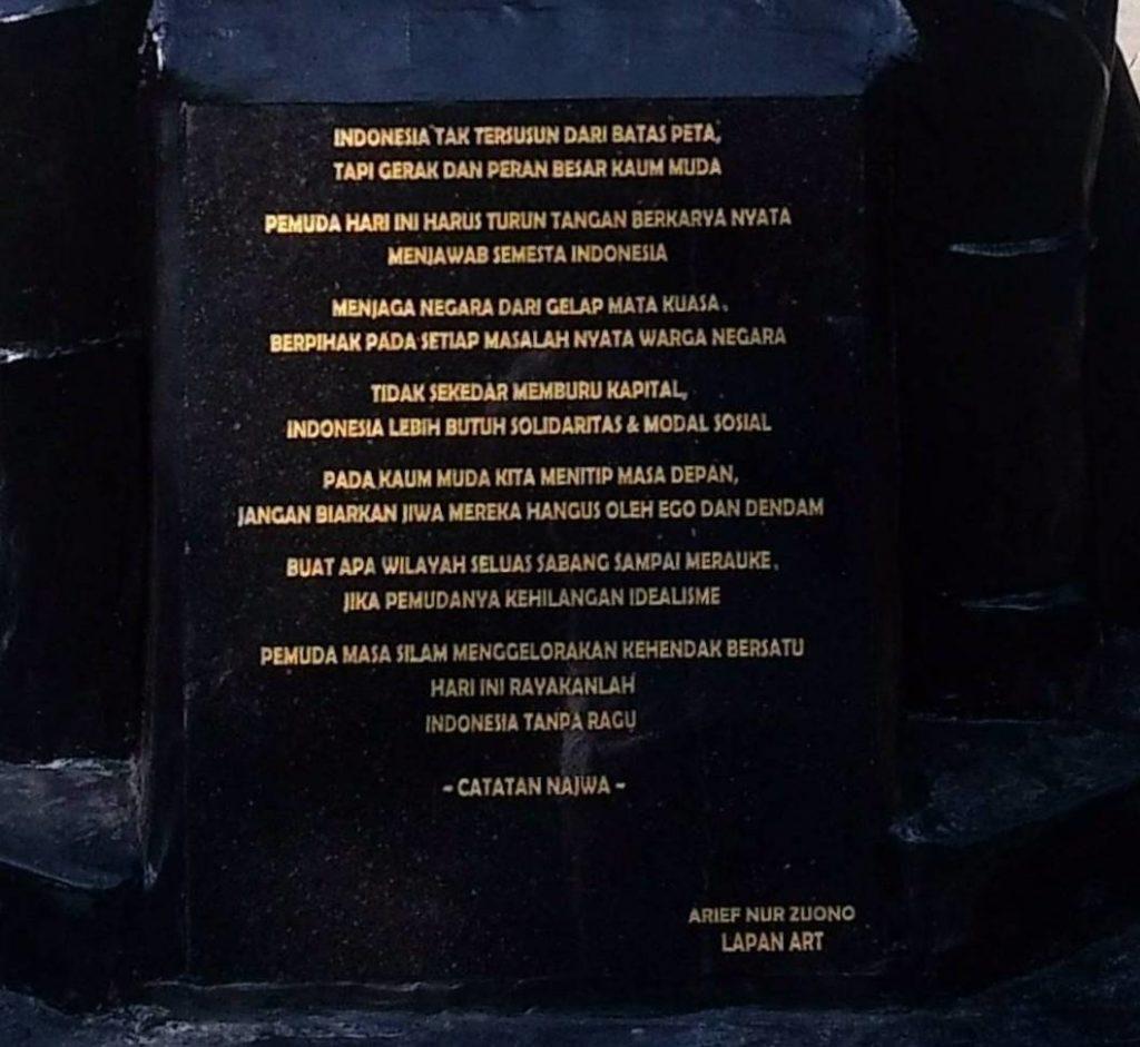 Catatan Najwa Pada Patung Revitalisasi Sumpah Pemuda Bogor