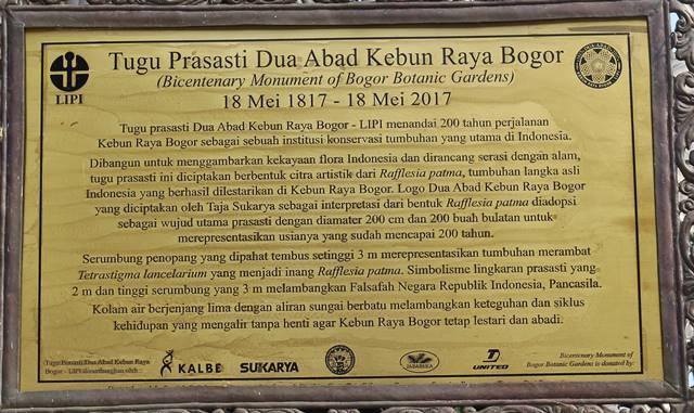 Tulisan pada Tugu Prasasti Dua Abad Kebun Raya Bogor 3