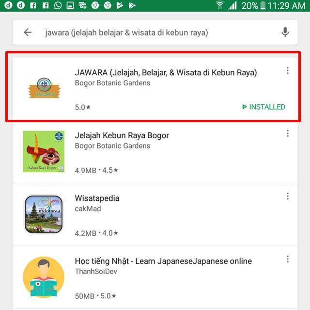 aplikasi jawara - Jelajah wisata dan belajar di kebun raya indonesia D