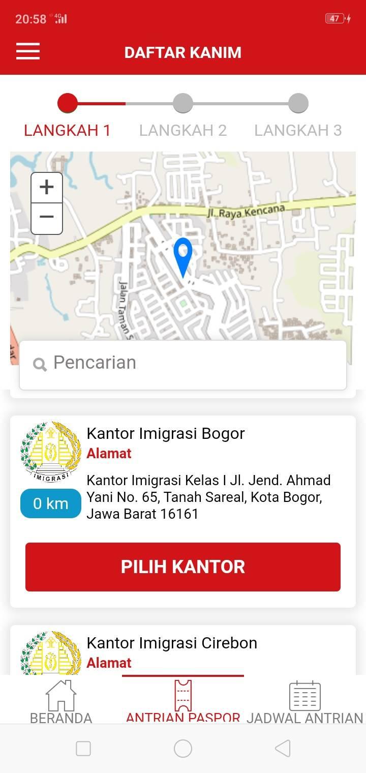 Aplikasi Layanan Paspor Online Hanya Menunjukkan Kantor Imigrasi Dalam Satu Propinsi Saja A