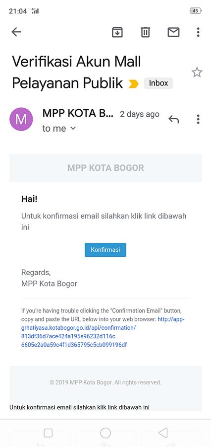 Email verifikasi pendaftaran antrian online MPP Mal Pelayanan Publik Kota Bogor