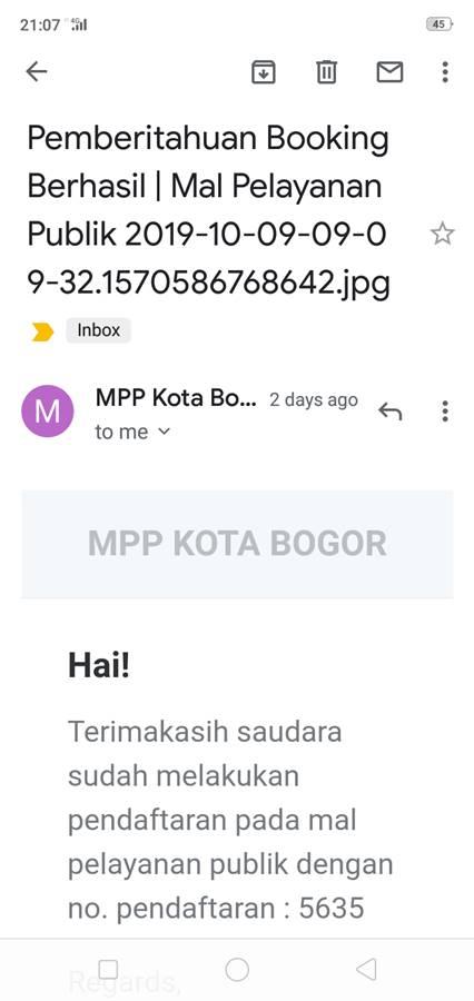 Konfirmasi Daftar Antrian Booking Online Mal Pelayanan Publik Grha Tiyasa Kota Bogor G