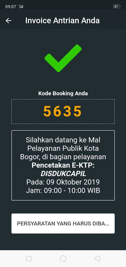 Konfirmasi Daftar Antrian Booking Online Mal Pelayanan Publik Grha Tiyasa Kota Bogor