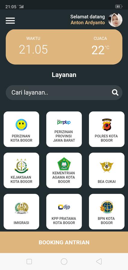 Tampilan Layar Antrian Booking Online Grha Tiyasa Kota Bogor