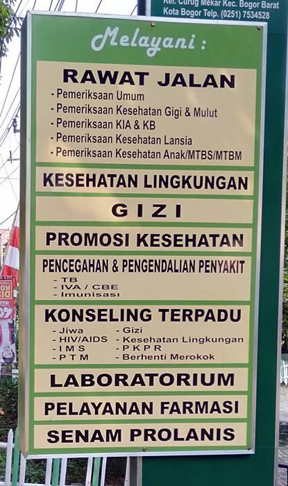 Layanan di Puskesmas Semplak Bogor Barat 3