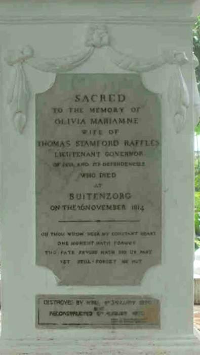 Poem written on Lady Raffles Monument